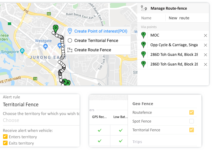 Manage Route, Territorial and Proximity alert