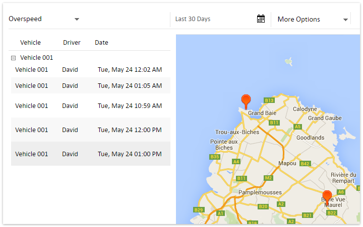 Create custom vehicle tracking reports