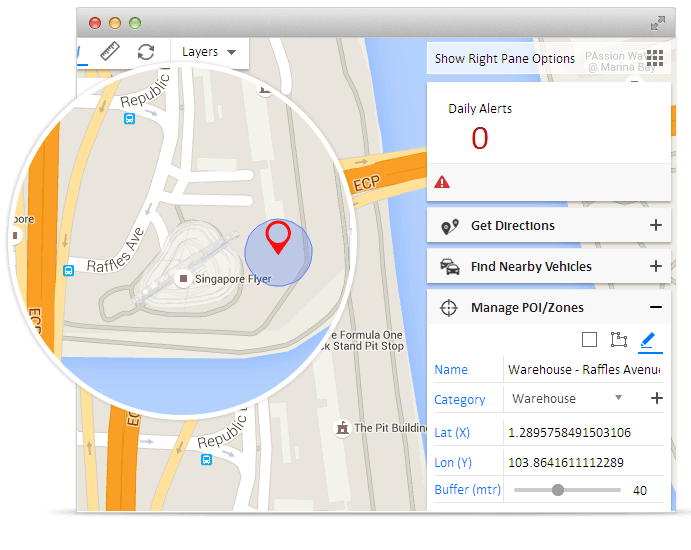Create your business points as Points of Interests on your GPS tracking map