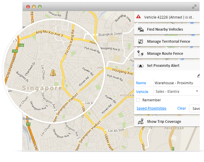 Geofence alert on proximity in gps vehicle tracking