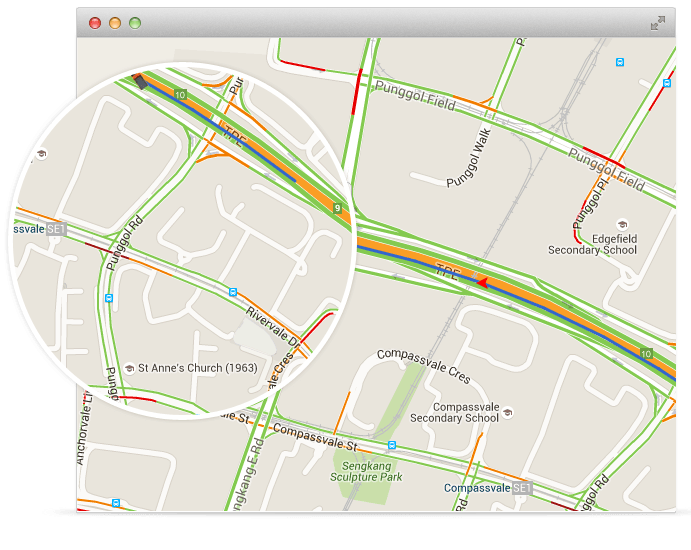 View real time road traffic data