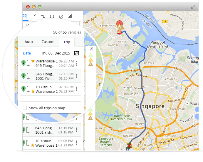 Vehicle tracking history for upto 6 months using GPS devices