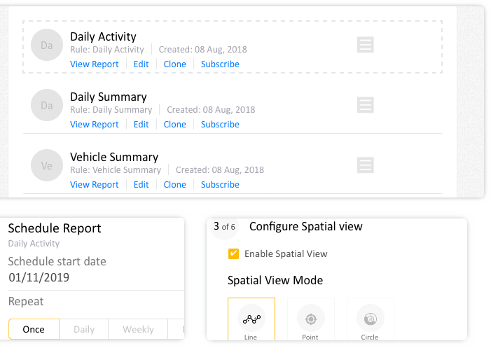 Vehicle tracking reports - Generate reports with the predefined default template