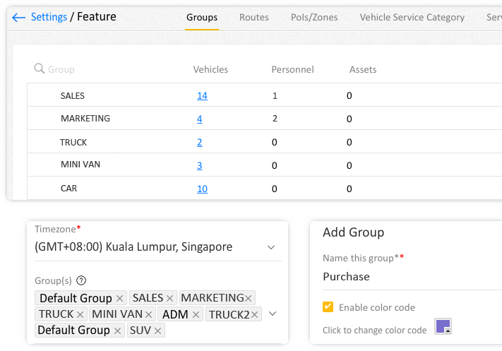 Add vehicle groups