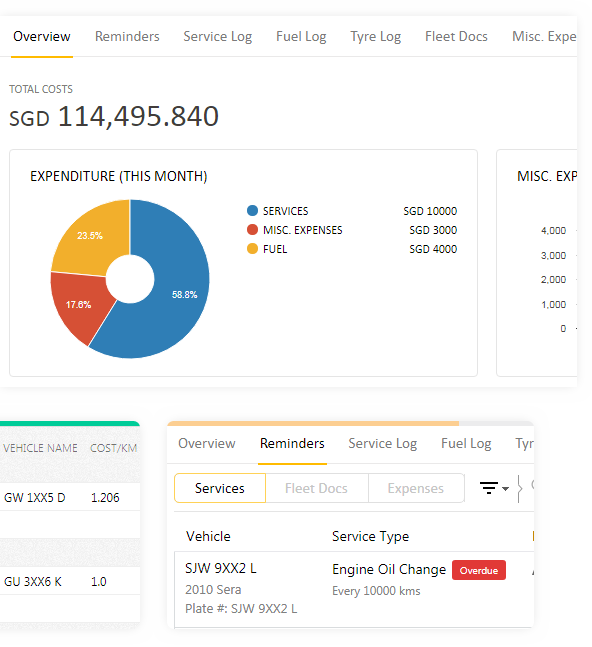 TRACK EXPENSES, SERVICE AND MAINTENANCE