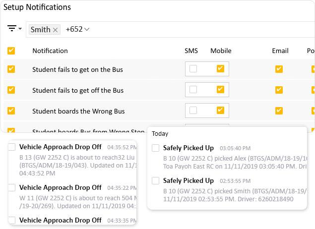 Configure school bus notifications