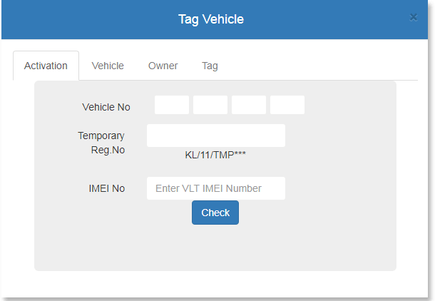 Parivahan Tag Vehicle form