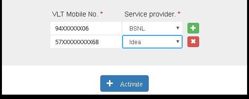 VLT Mobile No. input form