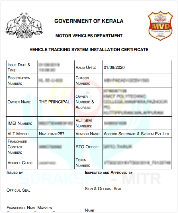Vehicle Tracking System Installation Certificate