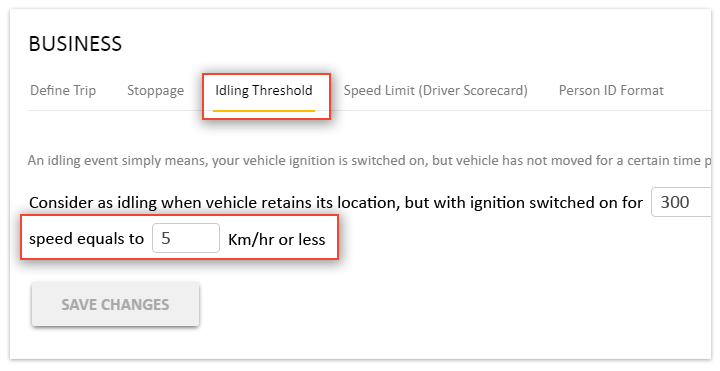 Option to set Speed along with Idling threshold