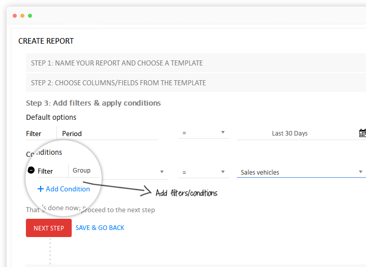 Add filters/conditions to new vehicle tracking report template