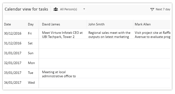 View personnel tasks on a calendar format