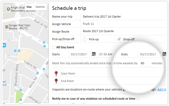 Define custom schedules and get known on time violations and route deviations