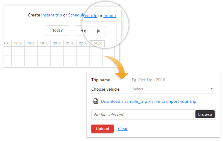 Upload a trip schedule in excel - vehicle tracking reports