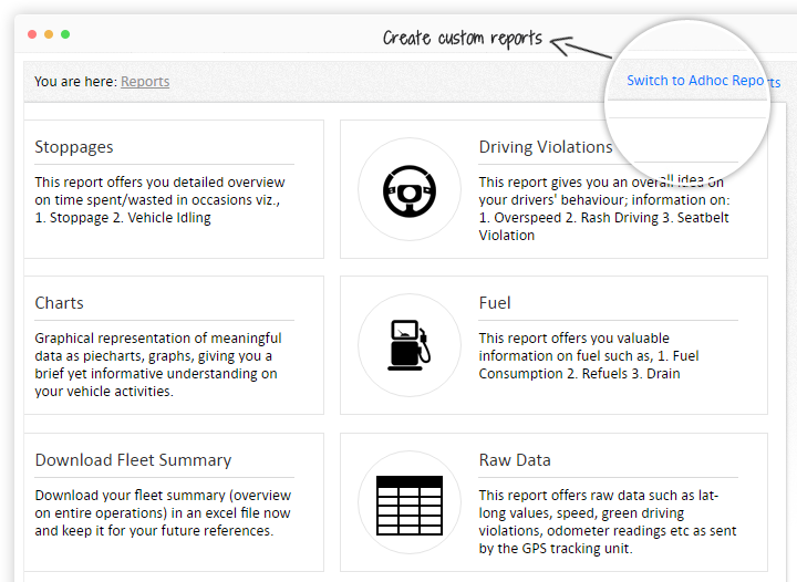 Create vehicle tracking reports