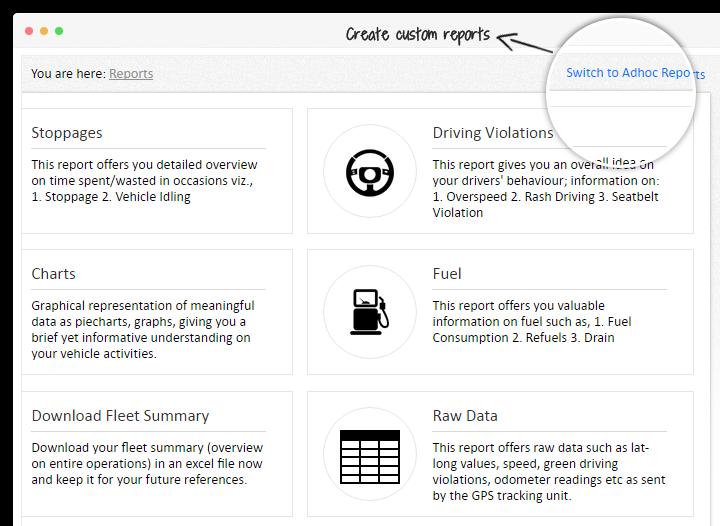إنشاء تقارير تتبع المركبات